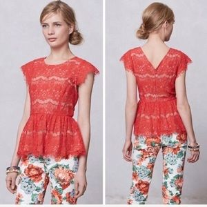 Maeve Anthropologie Katrine Lace Peplum Top Size L